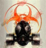 Black gas mask with biohazard symbol - sketch — Foto Stock