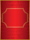 Red vector background and gold frame with musical notes — Stock Vector