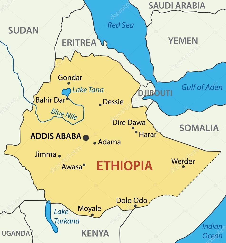Federal Democratic Republic of Ethiopia - vector map — Stock ...