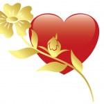 ilustración vectorial de corazón rojo y flor — Vector de stock  #4657717