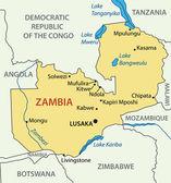 Republic of Zambia - vector map — Stock Vector
