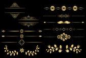 Golden design elements with gradient - vector — Stock Vector