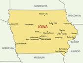 Iowa - vector map — Stock Vector