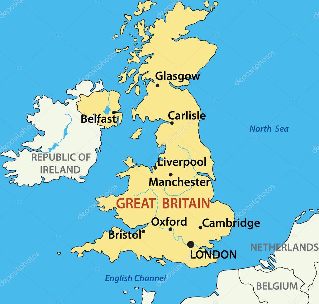 矢量图-英国大不列颠的地图