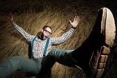 Redneck nerd man — Stockfoto