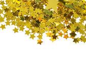 Altın yıldızlar beyaz zemin üzerine izole — Stok fotoğraf