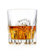 Glass of whiskey and ice isolated on white background — Stock Photo
