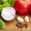 Fresh vegetables on wooden hardboard — Stock Photo #18666641