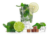 Mojito cocktail on white background — Stock Photo