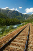Railway in the mountains — Stok fotoğraf