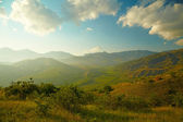 Summer landscape with vineyard, mountains and sky — Stock Photo