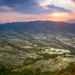 Sunset at rice terraces - Stock Photo