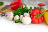 Ekologiska vegetabiliska bakgrund — Stockfoto