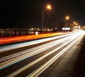 ночной трафик свет большого города — Стоковое фото