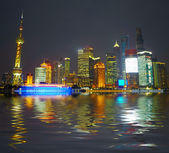 Shanghai skyscrapers. Classical view from bund — Stock Photo