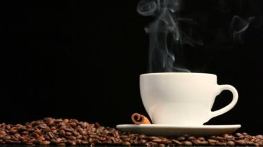 Cup of coffee on black background — Stock Video