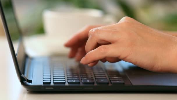 Manos escribiendo en un teclado de ordenador portátil — Vídeo de stock