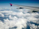 Flygeln av flygplan från fönster — Stockfoto