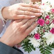 Newlyweds hands — Stock Photo