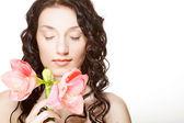 Donna e rosa orchidea — Foto Stock
