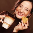 Woman with coffee and cookies — 图库照片