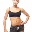 Fitness woman in black sports clothes — Stock Photo
