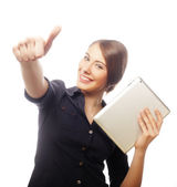 Smiling business woman with tablet thumb up show. — Stock Photo