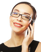 Eyeglasses Woman Using Phone — Stock Photo