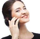 Woman receiving only good news on mobile phone — Stock Photo