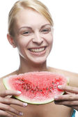 Woman with watermelon — Stock Photo