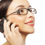 Eyeglasses Woman Using Phone — Stock Photo #27532621