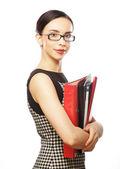 Portrait de femme d'affaires avec les dossiers de sourire — Photo