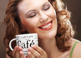 Beautiful Stylish Girl Drinking Coffee — Stock Photo