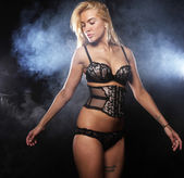 Blond woman posing in lingerie — Stock Photo