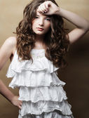 Young woman with white dress — Stock Photo