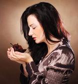 Woman with cake — Stok fotoğraf