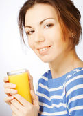 Woman with orange juice on white background — Stock Photo