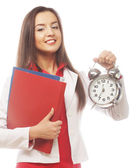The business woman with an alarm clock — Stockfoto