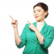 Happy business woman pointing an idea — Stock Photo #28163693