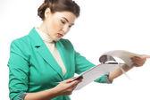 Retrato de mujer de negocios de la escritura — Foto de Stock