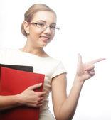 Usměvavá mladá podnikatelka — Stock fotografie