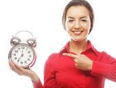 带闹钟的商务女人 — 图库照片