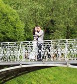 Pár na mostě v parku — Stock fotografie