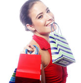 Beautiful happy woman with shopping bags — Stock Photo
