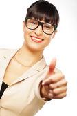 Attractive caucasianwoman wearing glasses — Stock Photo