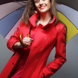 Woman in red coat with umbrella — Stock Photo #29471207