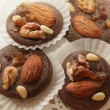 Variations of chocolated sweet pralines close up — Stock Photo