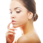 Beautiful woman's face with clean skin — Stock Photo