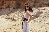 Fashion model posing outdoor — Stock Photo