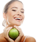Young happy smiling woman with green apple — Stock Photo